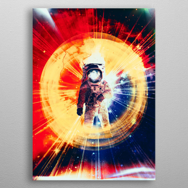 A retro digital composition designed to celebrate the epic nature of space travel and man's quest for knowledge. metal poster
