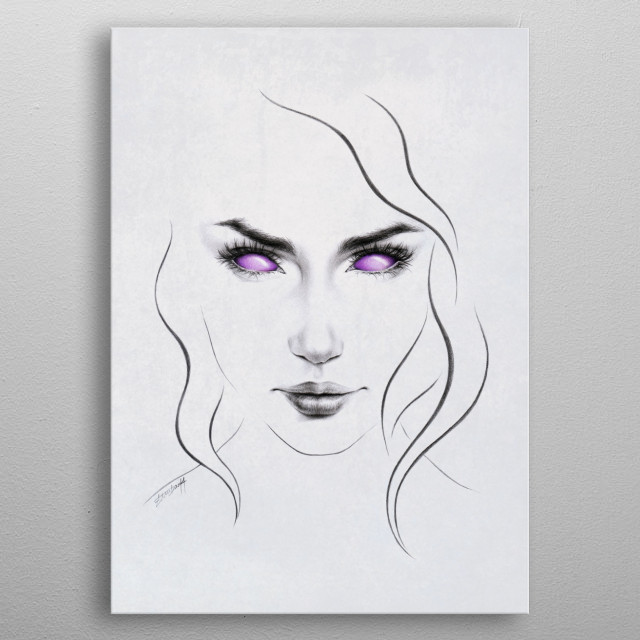 These eyes are not your eyes | Graphite and colored pencil sketch with texture metal poster