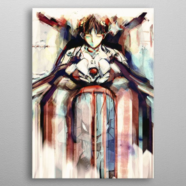 Mother is the First Other, watercolor/washed digital painting of Shinji ikari and Evangelion Unit 01 inspired by the epic anime/manga Evangelion. metal poster