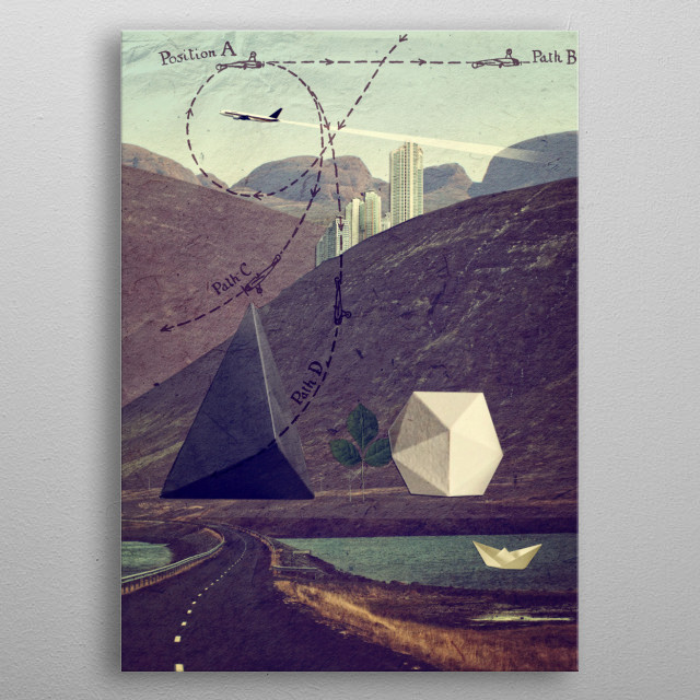 Collage from Distant Lands metal poster