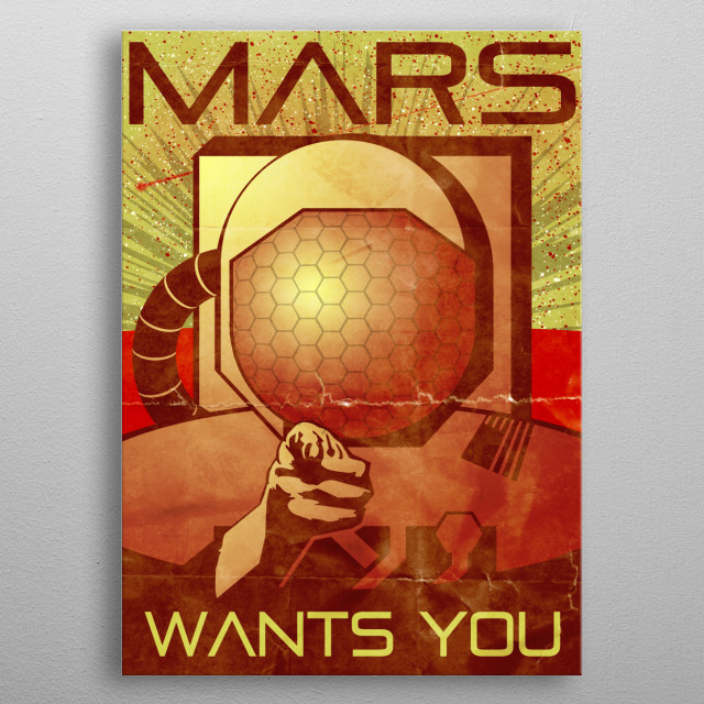 Mars Wants You metal poster