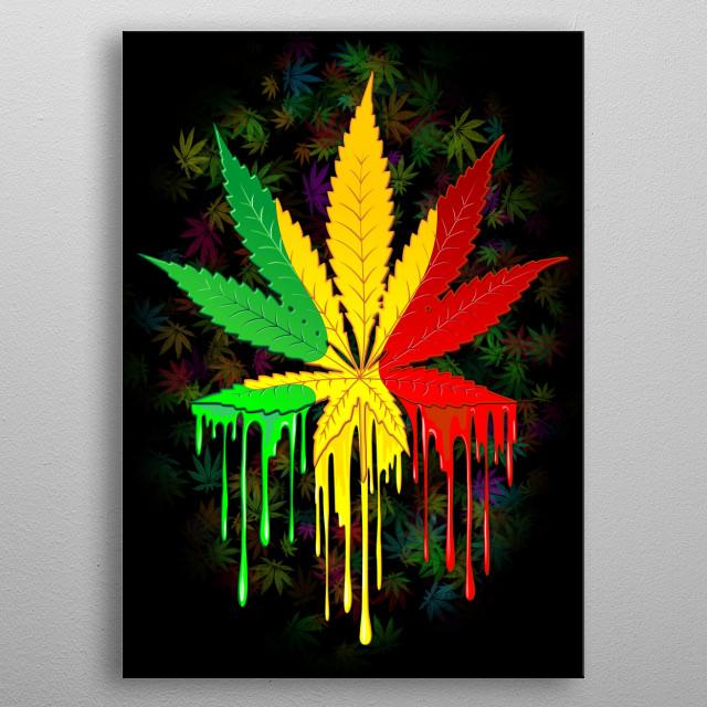 Marijuana Leaf Rasta Colors Dripping Paint metal poster