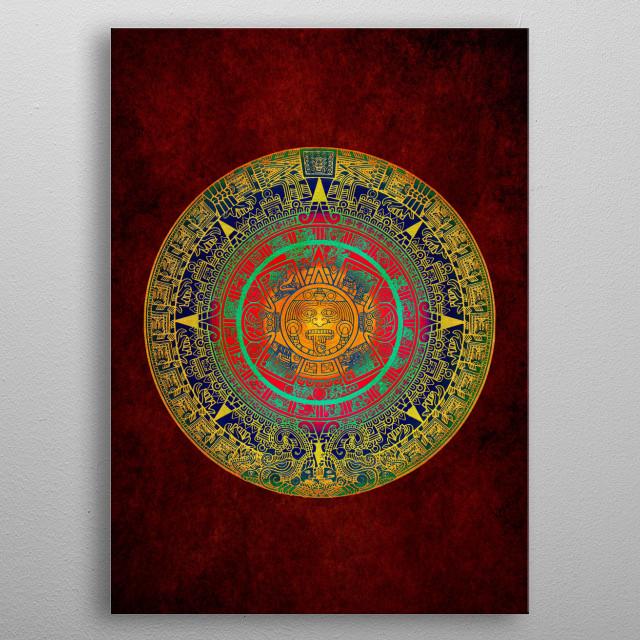 Aztec Sun God metal poster