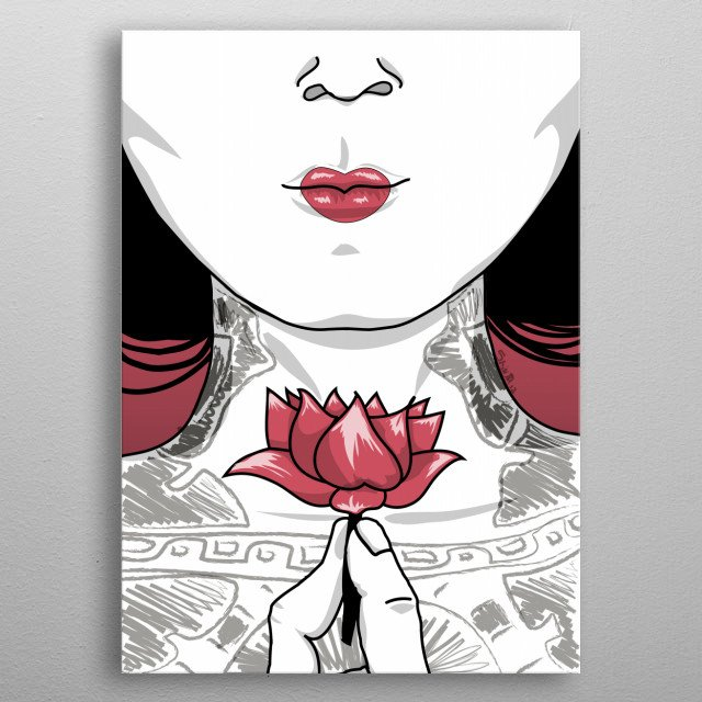 Close up, tattoo style, of a geisha. metal poster
