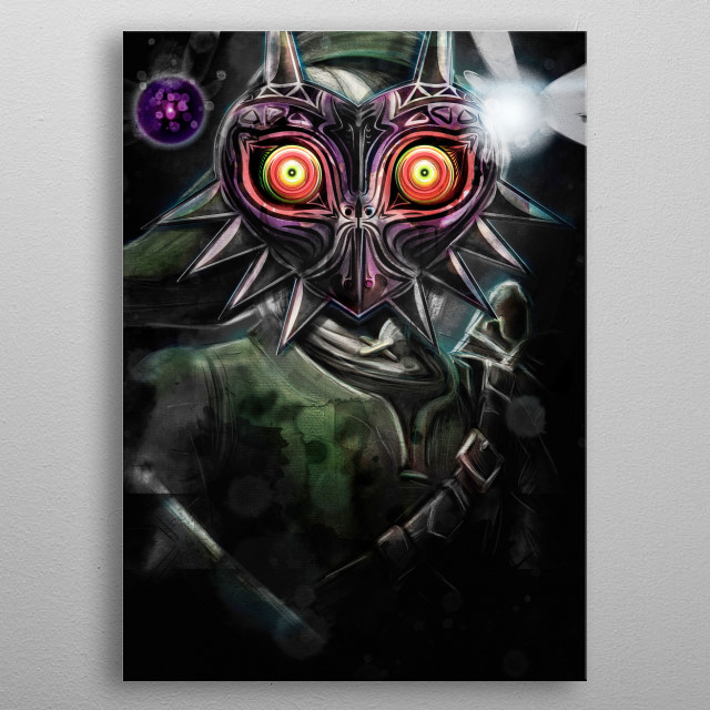 Inspired by Nintendo's game series The Legend of Zelda this is my painting artistic representation of how Link would look wearing Majora&... metal poster