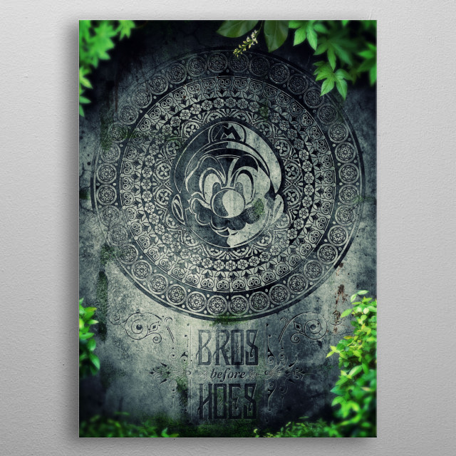 Here Lies Mario digital art of what Mario's tombstone would look like. metal poster