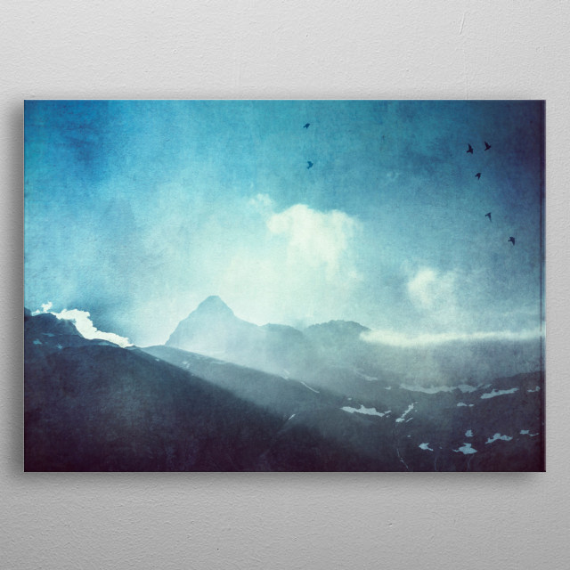 light beams over a mountain ridge in the Swiss alps. metal poster