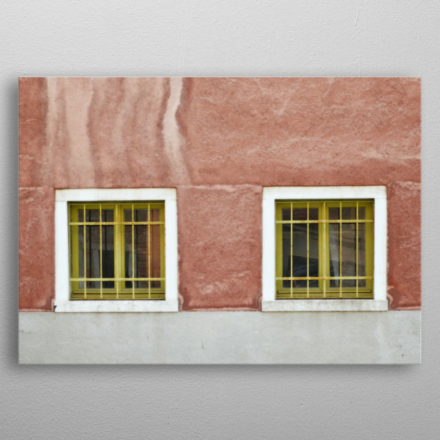 Symmetric and Geometric Chartreuse Green Venetian Windows on Terra Cotta metal poster