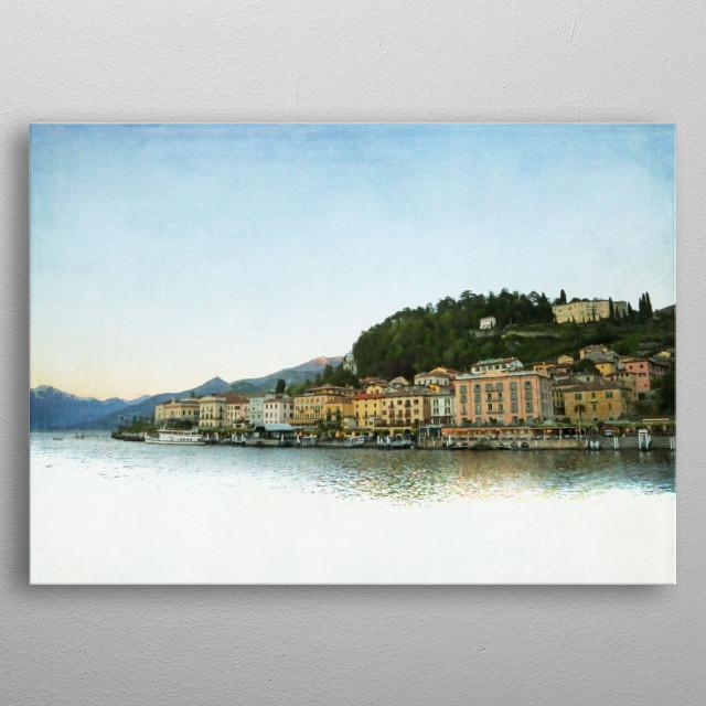 Bellagio from Lake Como at Dusk metal poster