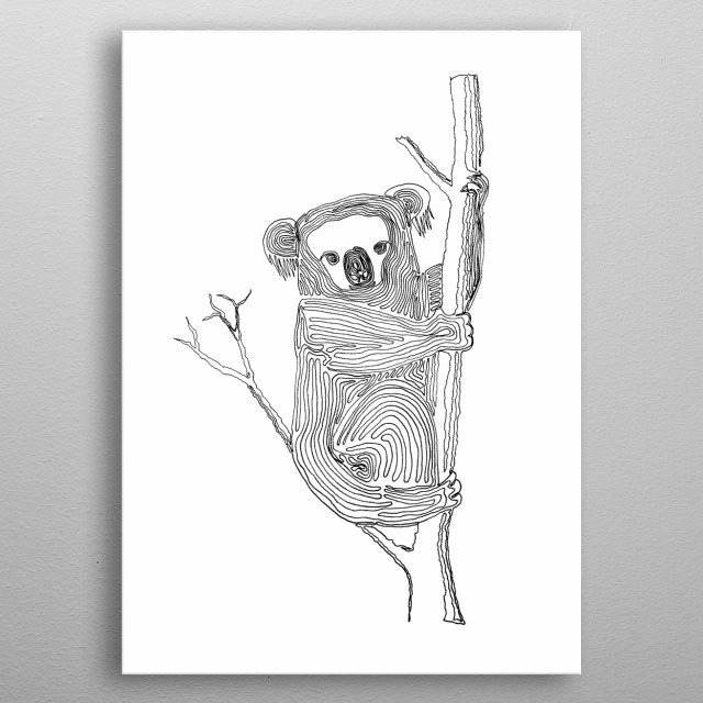 Koala - Drawing with One Line Line begins at the top of the nose and ends in the stomach in just below the bottom hand where it clutches the tree. metal poster