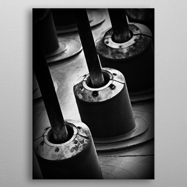 Industrial Stuff 3 An Industrial piece of photography by Clare Bevan Photography.   This strong cable is just of the pieces that holds up the... metal poster