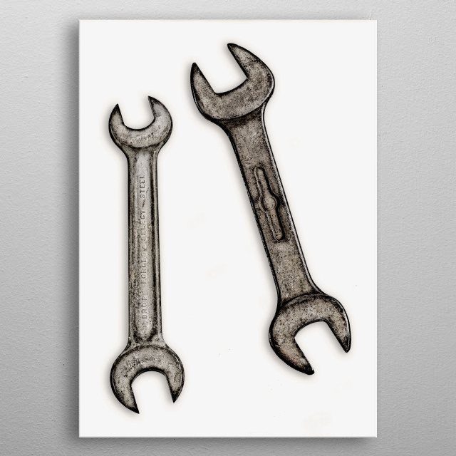 Wrenches.  You do not need exotic locations, expensive items, or provocative ideas to create art. You don't have to be a painter, sculptor, or photographer to be an artist either, subsequently, by their acts of creation the mechanic, plumber, carpenter and electrician are all artists in their own right. Everyday items by their nature, wear and tear from everyday use, and age become pieces of art themselves. The beauty and interest lies in the details of the pieces, each have their marks and ab metal poster