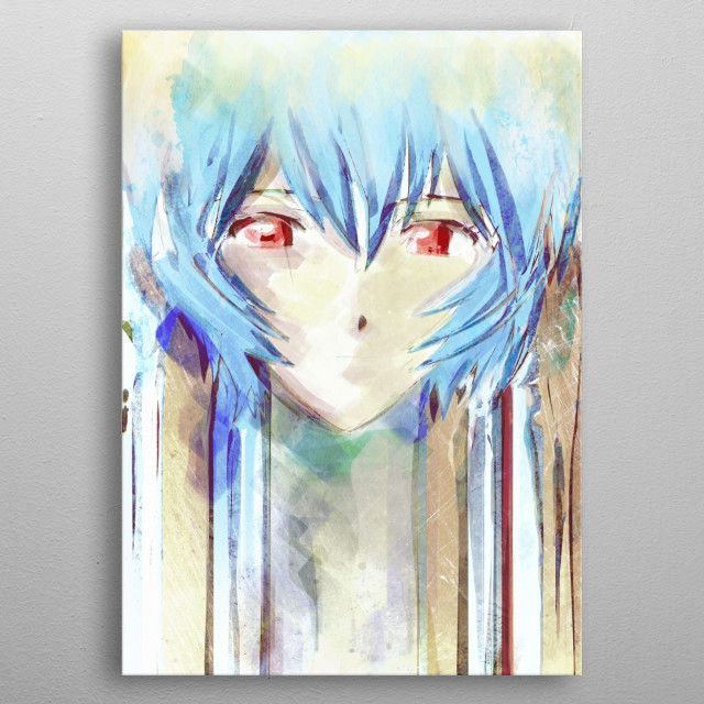 Rei Ayanami watercolor portrait inspired by the anime/manga series Evangelion metal poster