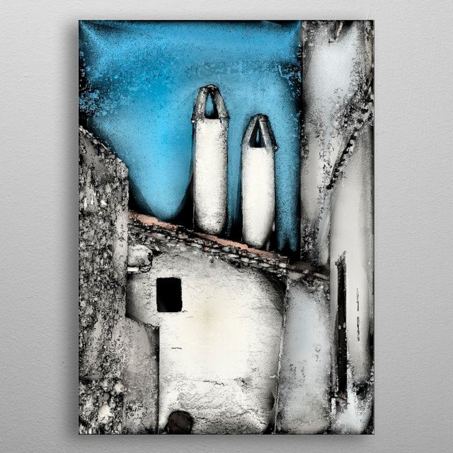 Two Chimneys of a Menorcan home, rendered from a photograph to simulate a satin metallic effect. metal poster