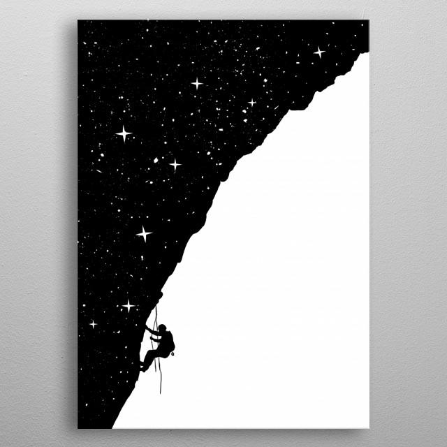 Night climbing metal poster