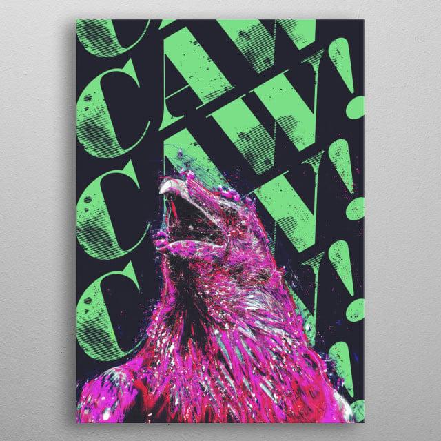 Wild little digital art piece of a bird and his words metal poster