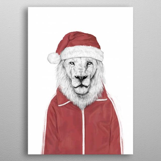 Santa lion metal poster