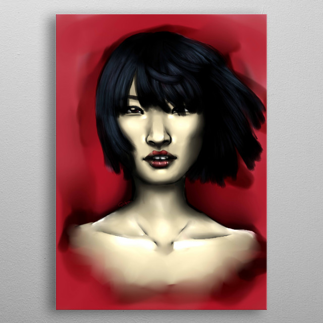A young, charming japanese woman, with geisha style lipstick, on a blood red background. metal poster