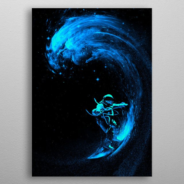 Space Surfing Blue Wave metal poster