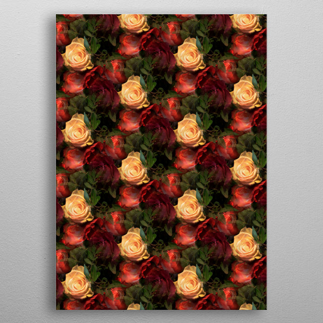 Pattern made from a photograph of roses. metal poster
