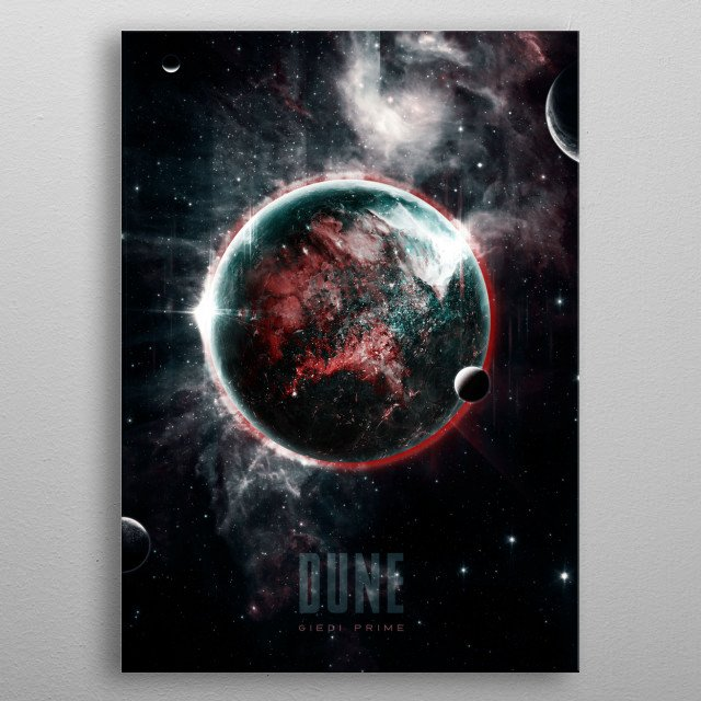 Planet Geidi Prime the home of House Harkonnen inspired by Frank Herbert's scifi classic series, DUNE. metal poster