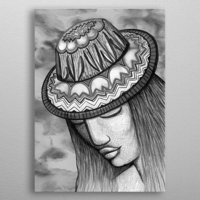 Hat of Tulips metal poster