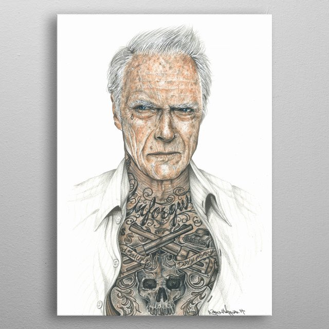 Clint Eastwood inked metal poster