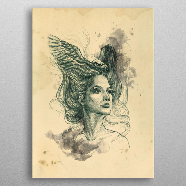 Past lives / Future flights  | Graphite pencil sketch with digital color and texture / surreal art metal poster