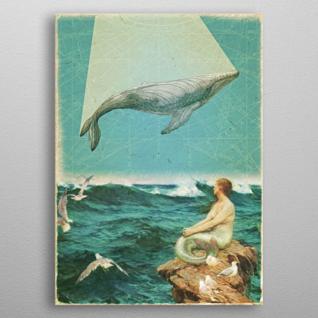 Whale Song Collage metal poster