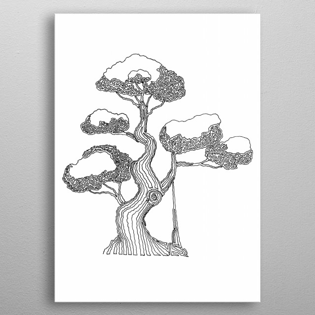 Bonsai 2- Drawn with one continuous line. The line begins on the bottom left root and ends in the center of the trunk, just above the knot. metal poster