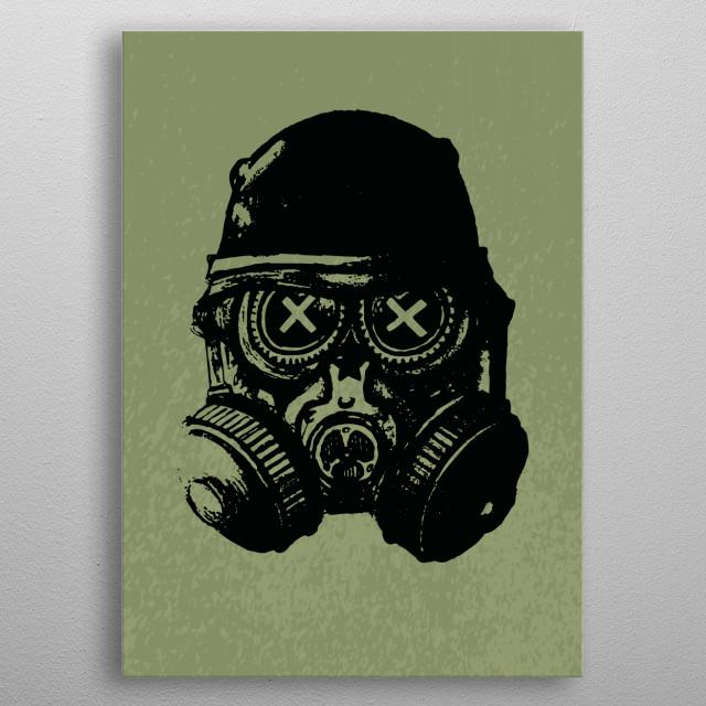 Gas mask skull metal poster