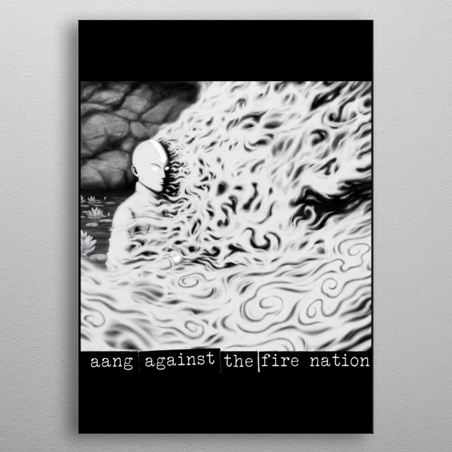 Aang Against the Fire Nation metal poster