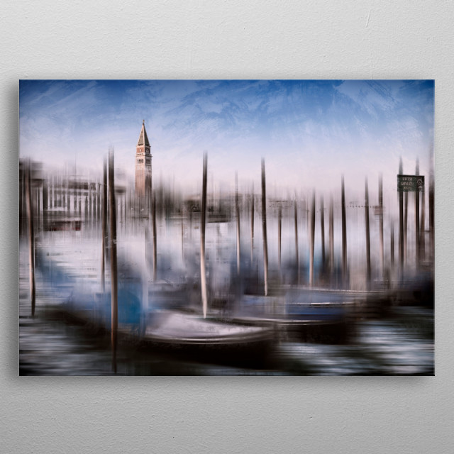 Gondolas are waiting for a ride. Nice and decorative image of Venice with picturesquely active passages, and graphic nuances. metal poster
