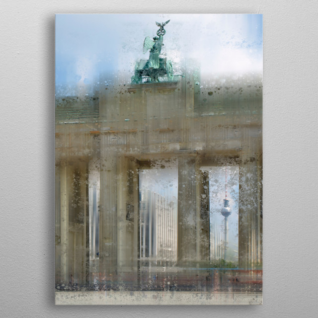 Brandenburg Gate is a famous landmark in Berlin, Germany. Discover also Television Tower in this urban scene. Decorative wall art. metal poster