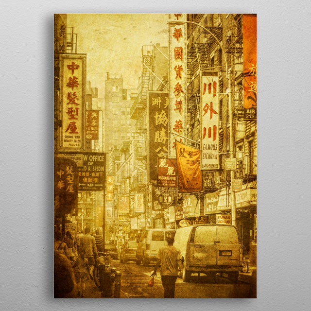 Pell Street, Manhattan, NYC. The centre of Chinatown, one of the smallest and yet busiest and most atmospheric pockets of New York City, metal poster