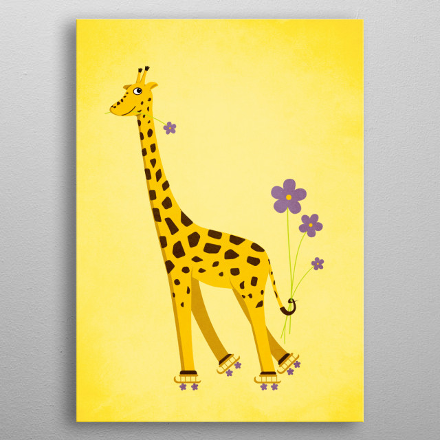 Yellow Funny Roller Skating Giraffe metal poster