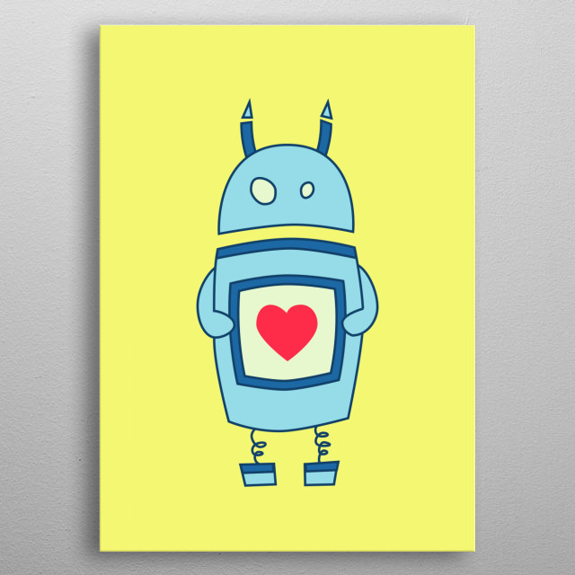 Cute Clumsy Cartoon Robot With Heart metal poster