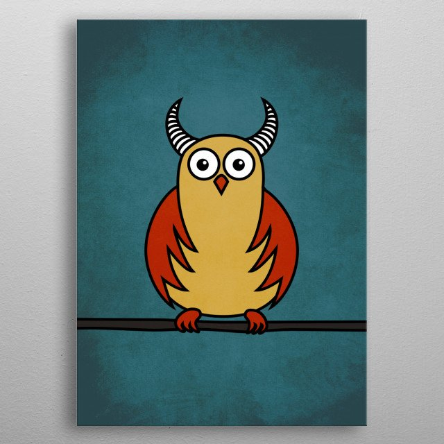 Funny Cartoon Owl With Horns metal poster