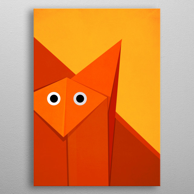 Cute geometric illustration of the face of an origami fox looking at you wondering why you are looking at it. metal poster