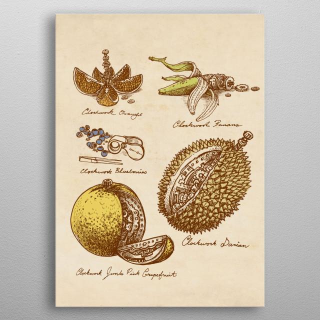 Clockwork Fruit metal poster