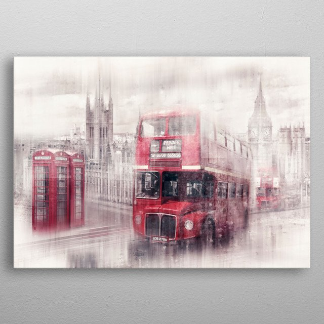 Modern art composing with red buses on Westminster Bridge and the well known red telephone boxes. metal poster