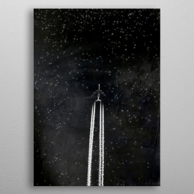 Plane with contrails against a dark starry sky metal poster