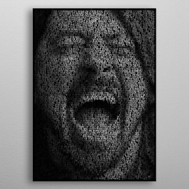 High-quality metal print from amazing Typographic Portraits collection will bring unique style to your space and will show off your personality. metal poster