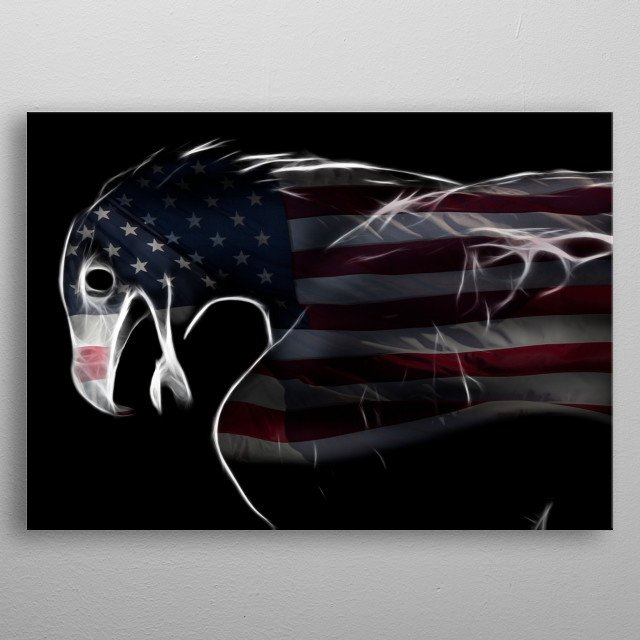 Outlines of an eagle with American flag. metal poster
