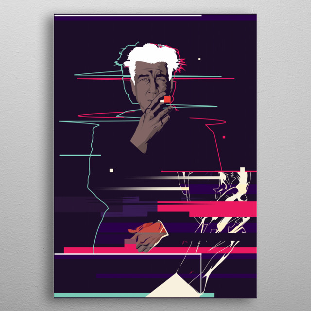 David Lynch - Glitch art metal poster