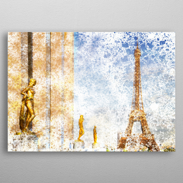 Impression of Eiffel Tower view from Trocadero. Decorative urban design. metal poster