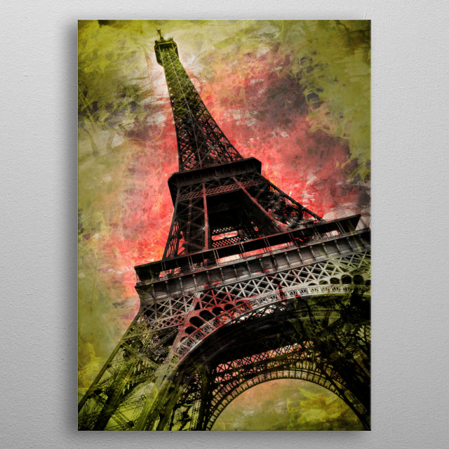 Unique modern and decorative artwork of Eiffel Tower in Paris.  metal poster