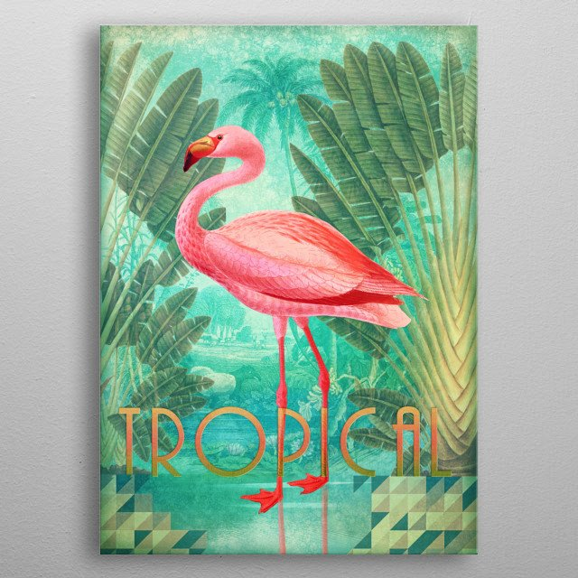 Tropical Collage metal poster