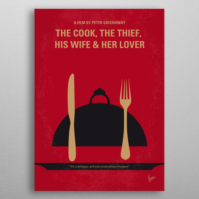 No487 My The Cook the Thief His Wife and Her Lover minimal movie poster  The wife of an oafish restaurant owner becomes bored with her husband and considers an affair with a regular patron.  Director: Peter Greenaway Stars: Richard Bohringer, Michael Gambon, Helen Mirren metal poster
