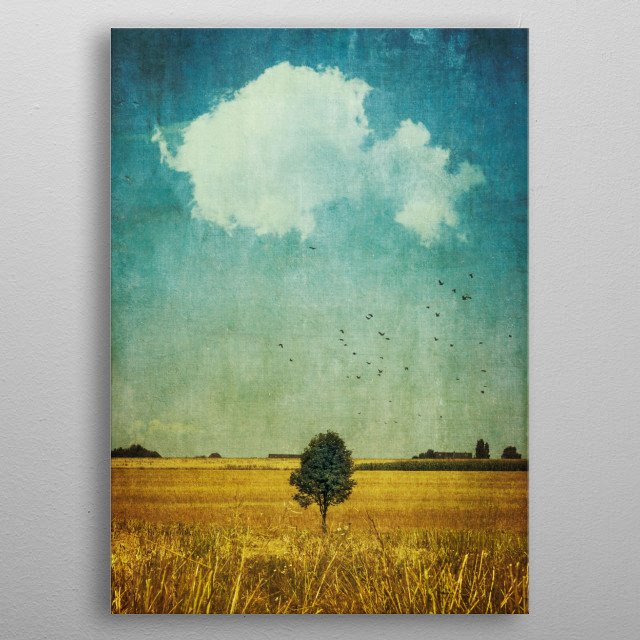 Lone tree in a harvested field metal poster